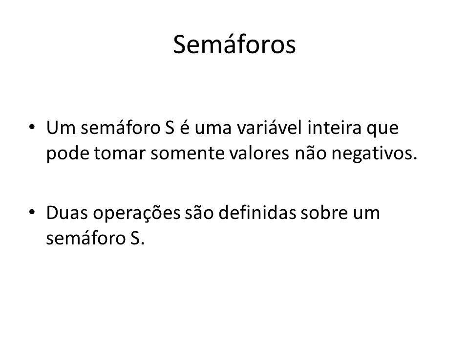 Semáforos Um semáforo S é uma variável inteira que pode tomar somente valores não negativos.