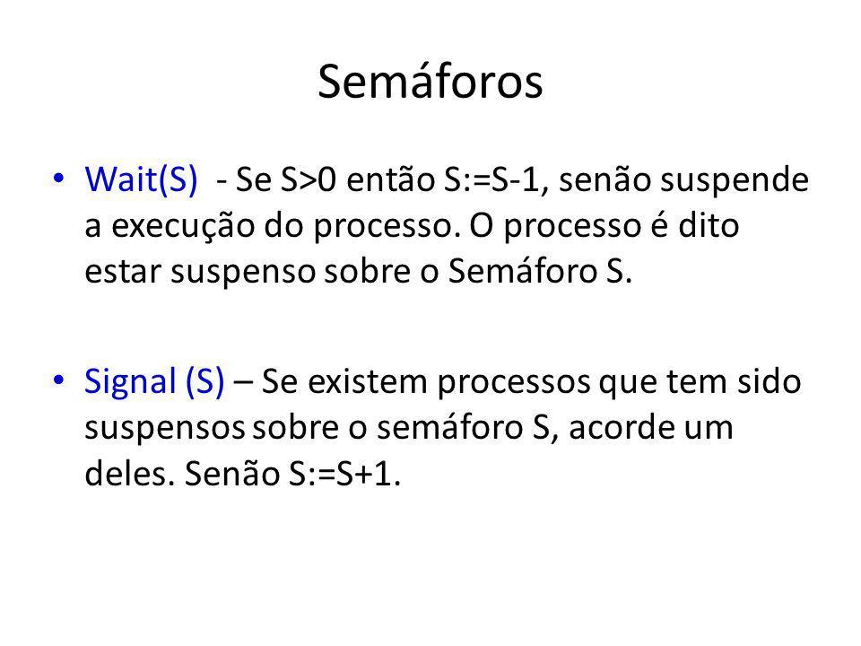 Semáforos Wait(S) - Se S>0 então S:=S-1, senão suspende a execução do processo. O processo é dito estar suspenso sobre o Semáforo S.