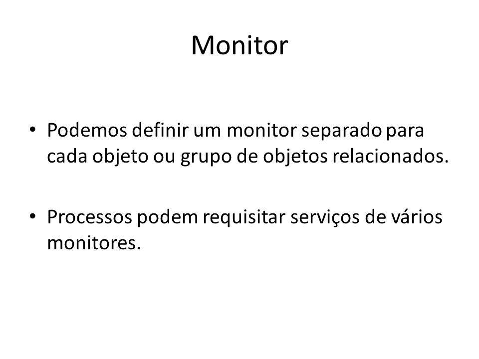 Monitor Podemos definir um monitor separado para cada objeto ou grupo de objetos relacionados.