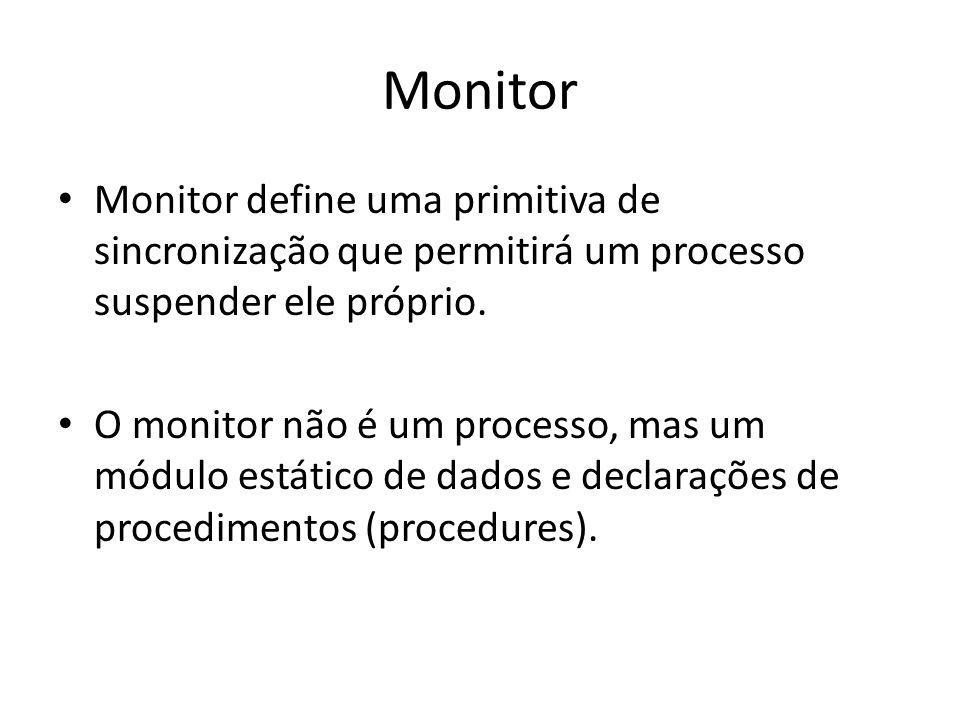 Monitor Monitor define uma primitiva de sincronização que permitirá um processo suspender ele próprio.