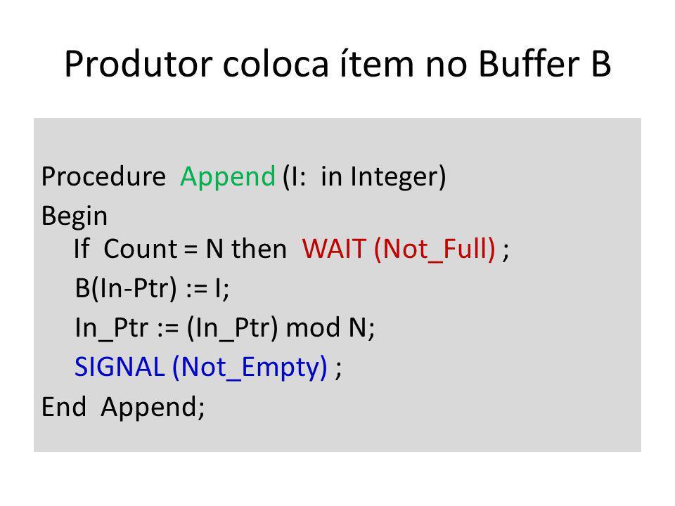 Produtor coloca ítem no Buffer B