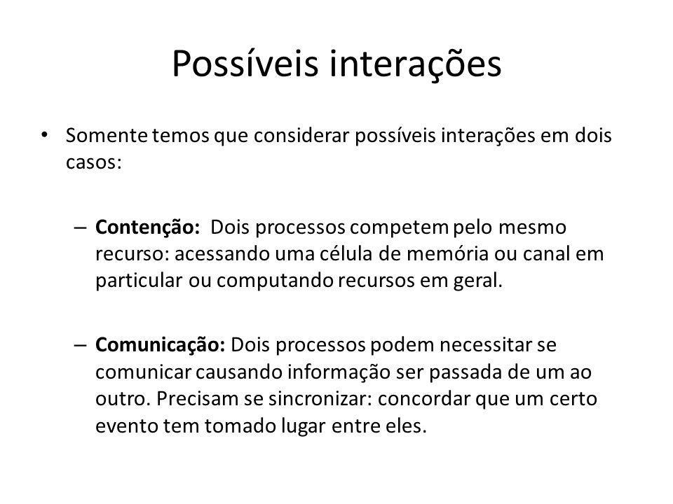 Possíveis interações Somente temos que considerar possíveis interações em dois casos: