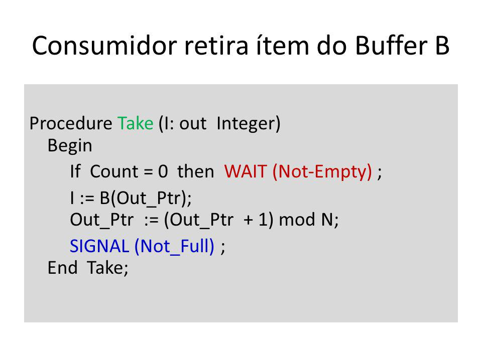 Consumidor retira ítem do Buffer B