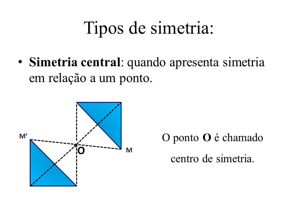 O ponto O é chamado centro de simetria.