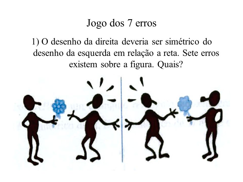 Jogo dos 7 erros 1) O desenho da direita deveria ser simétrico do desenho da esquerda em relação a reta.