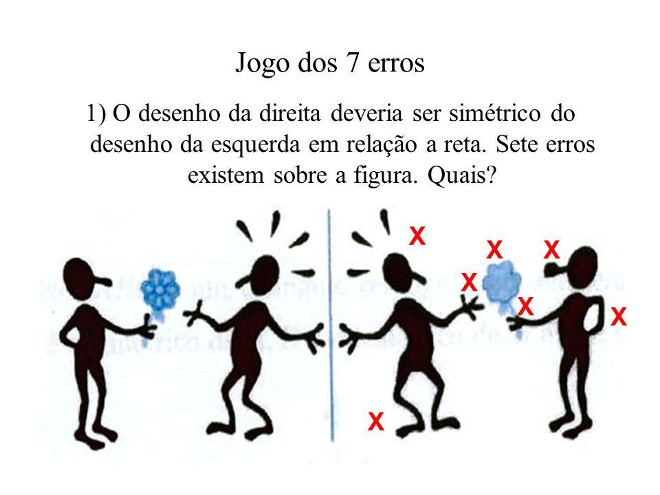 Jogo dos 7 erros 1) O desenho da direita deveria ser simétrico do desenho da esquerda em relação a reta. Sete erros existem sobre a figura. Quais