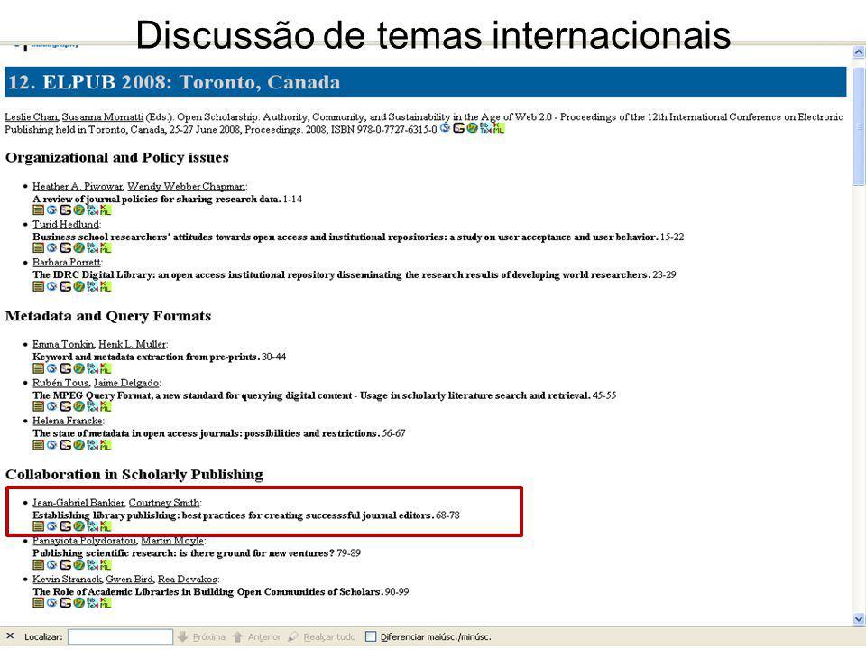 Discussão de temas internacionais