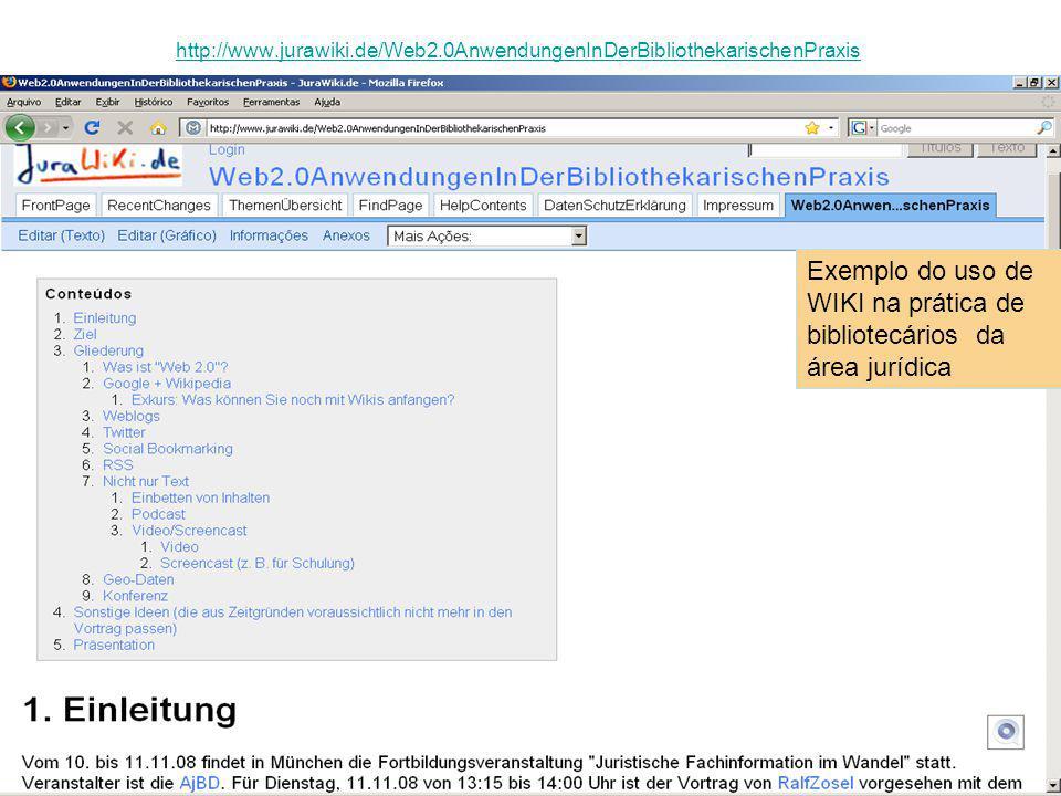 Exemplo do uso de WIKI na prática de bibliotecários da área jurídica