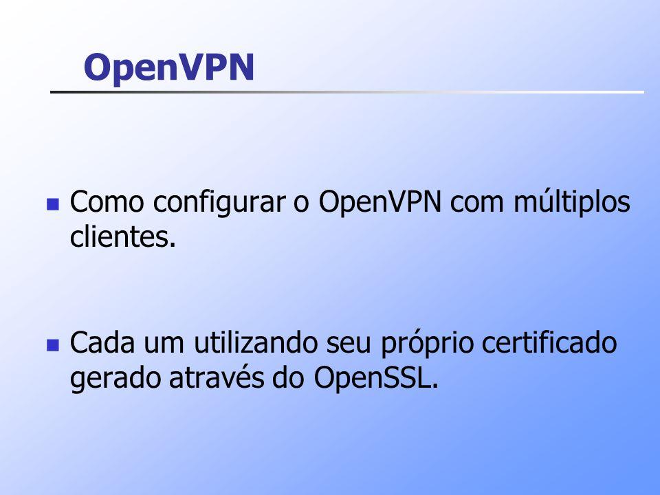 OpenVPN Como configurar o OpenVPN com múltiplos clientes.