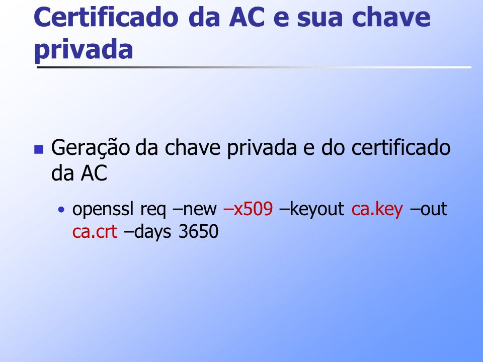 Certificado da AC e sua chave privada