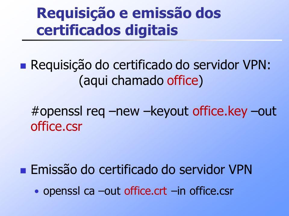 Requisição e emissão dos certificados digitais