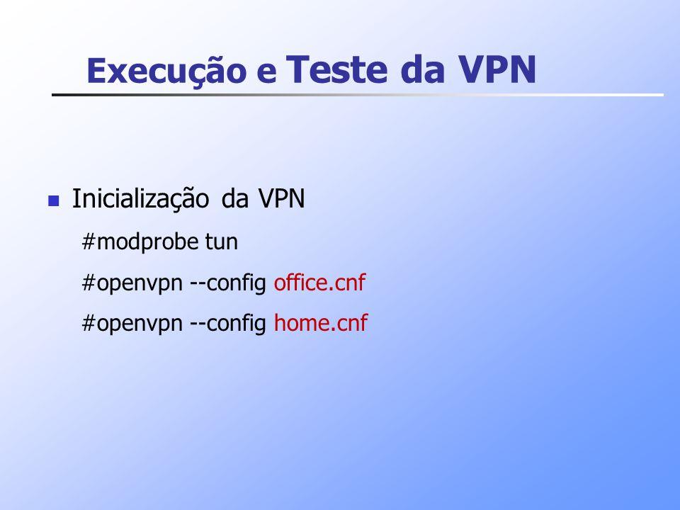 Execução e Teste da VPN Inicialização da VPN #modprobe tun