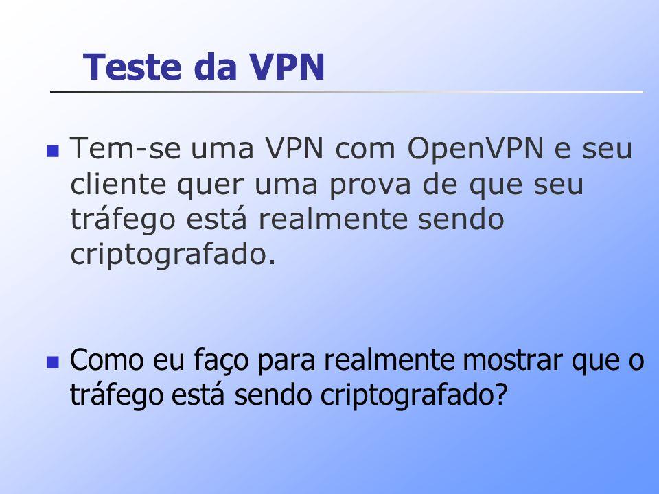 Teste da VPN Tem-se uma VPN com OpenVPN e seu cliente quer uma prova de que seu tráfego está realmente sendo criptografado.