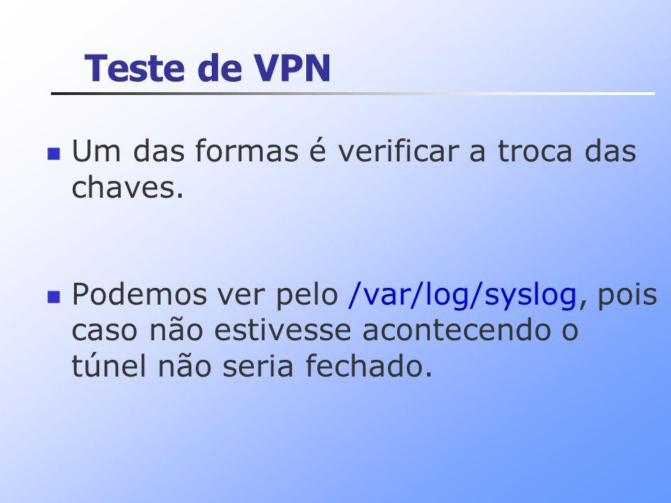 Teste de VPN Um das formas é verificar a troca das chaves.