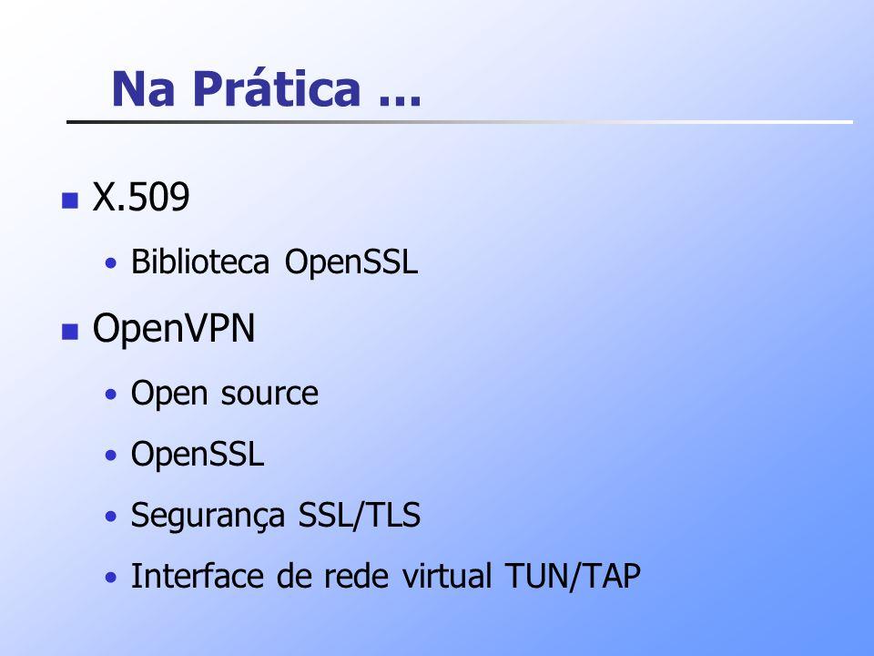 Na Prática ... X.509 OpenVPN Biblioteca OpenSSL Open source OpenSSL