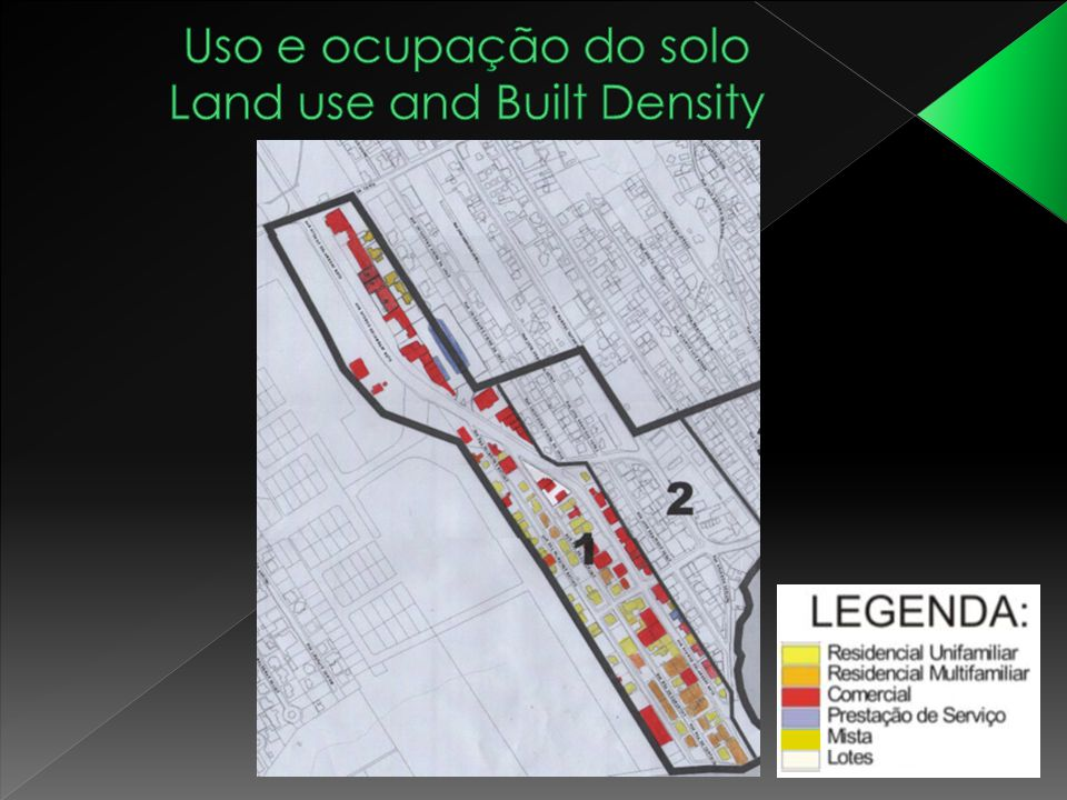 Uso e ocupação do solo Land use and Built Density