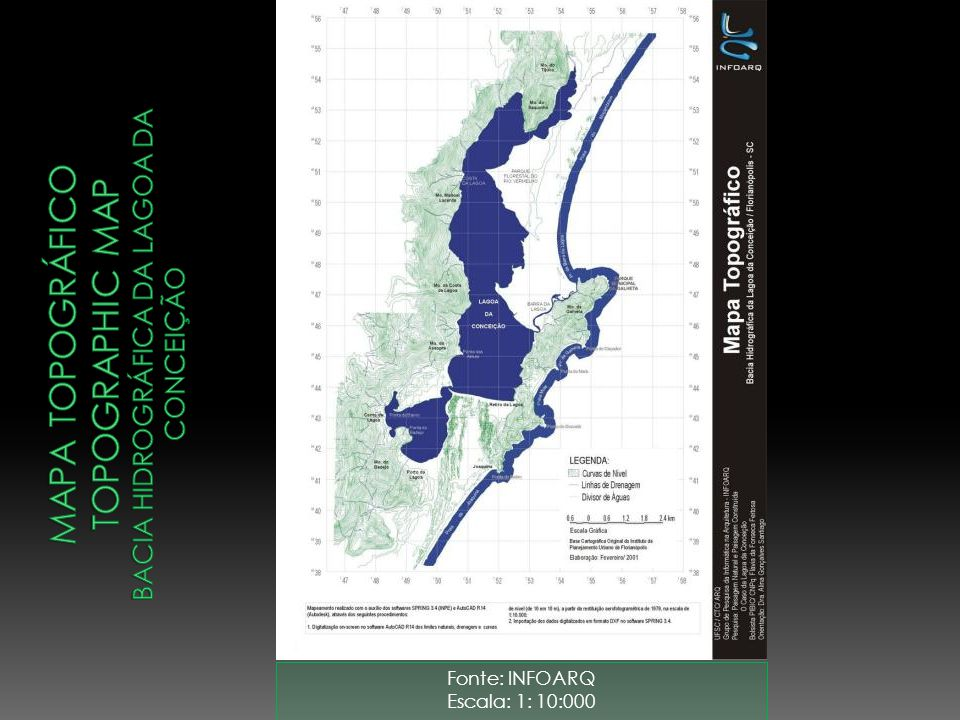 Mapa topográfico topographic map bacia hidrográfica da lagoa da conceição
