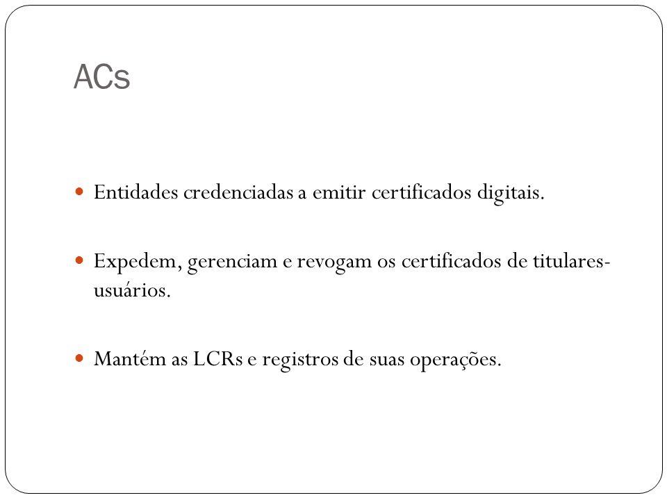 ACs Entidades credenciadas a emitir certificados digitais.
