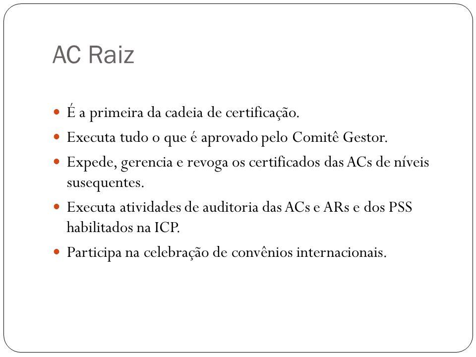AC Raiz É a primeira da cadeia de certificação.