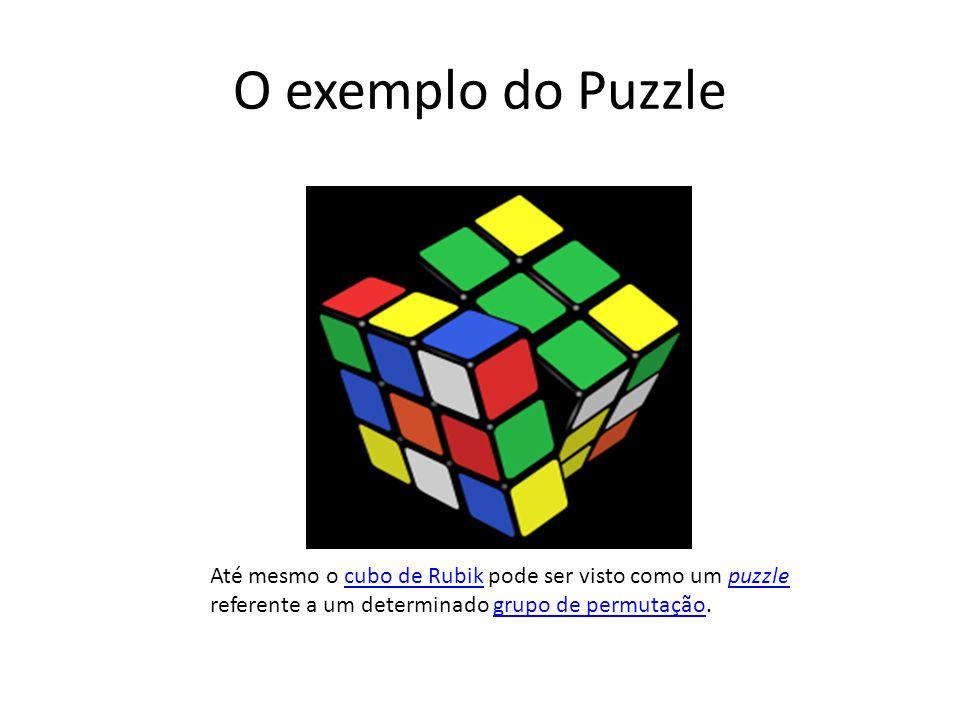 O exemplo do Puzzle Até mesmo o cubo de Rubik pode ser visto como um puzzle referente a um determinado grupo de permutação.