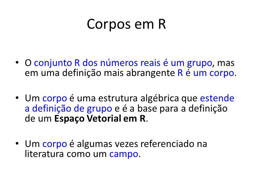 Corpos em R O conjunto R dos números reais é um grupo, mas em uma definição mais abrangente R é um corpo.