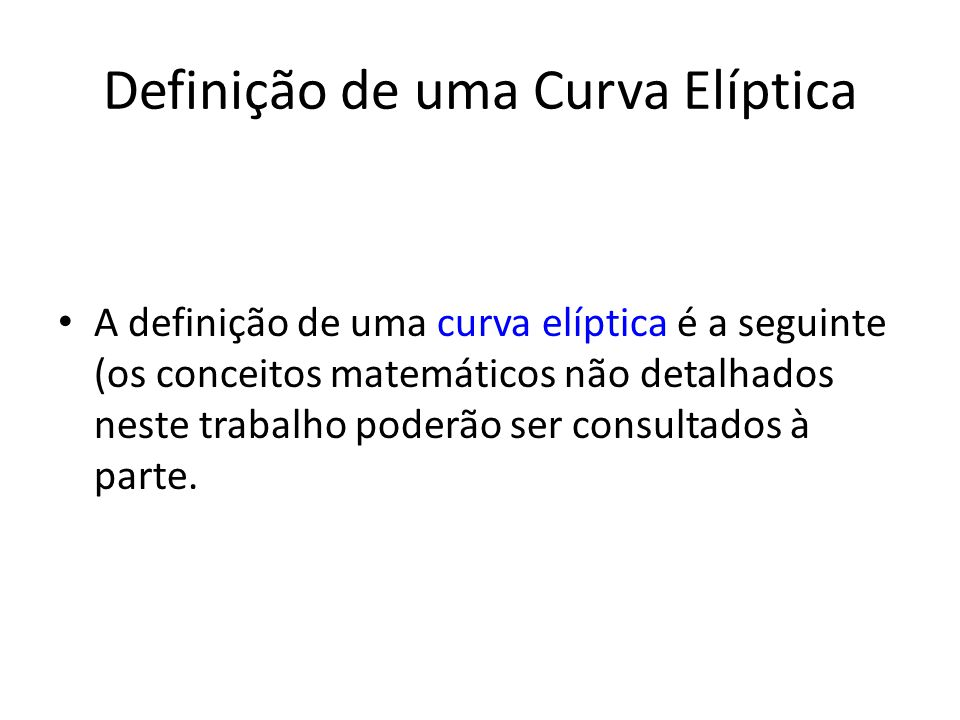 Definição de uma Curva Elíptica