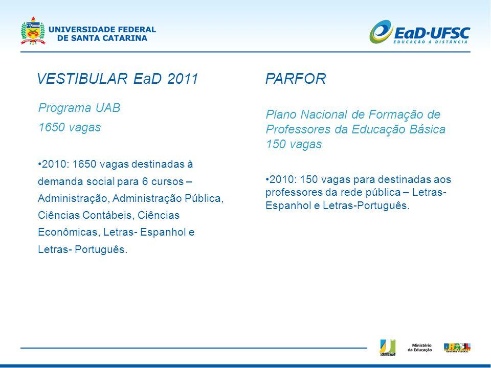 VESTIBULAR EaD 2011 PARFOR Programa UAB 1650 vagas