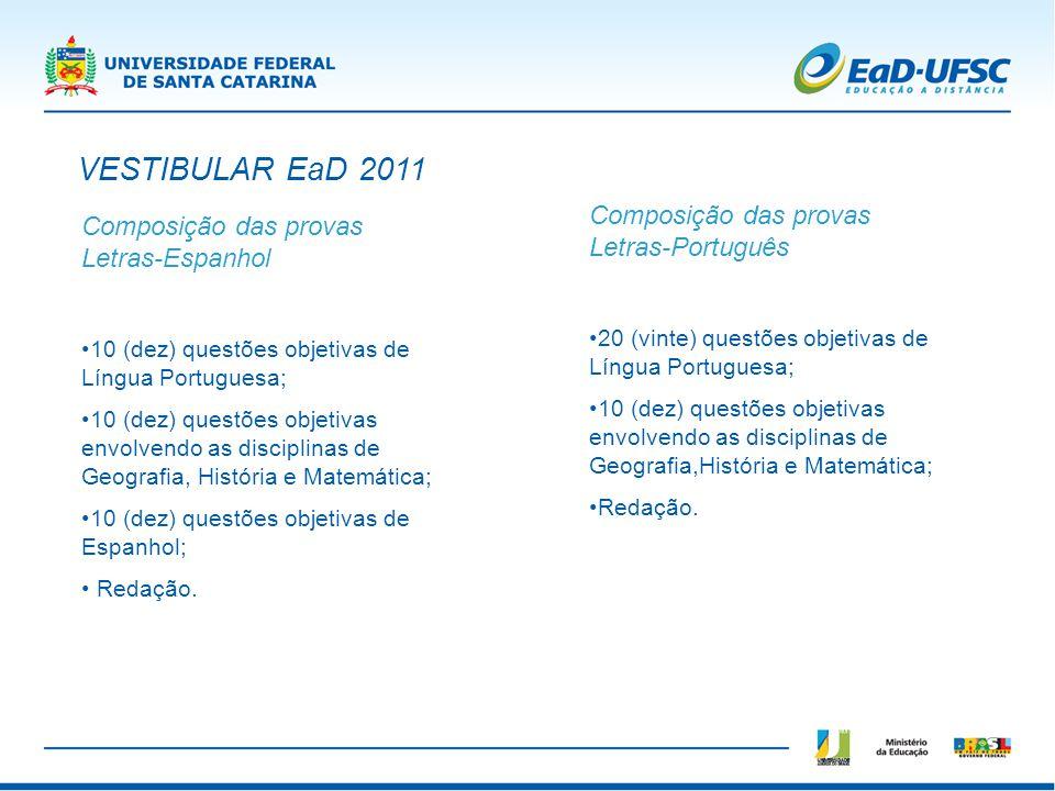 VESTIBULAR EaD 2011 Composição das provas Letras-Português