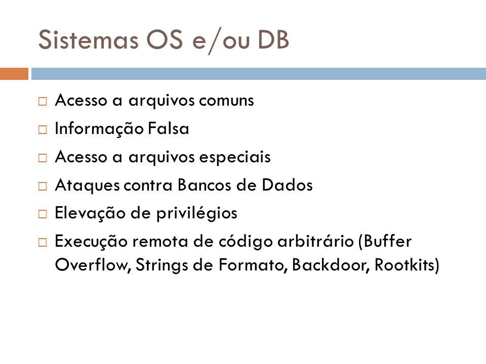 Sistemas OS e/ou DB Acesso a arquivos comuns Informação Falsa