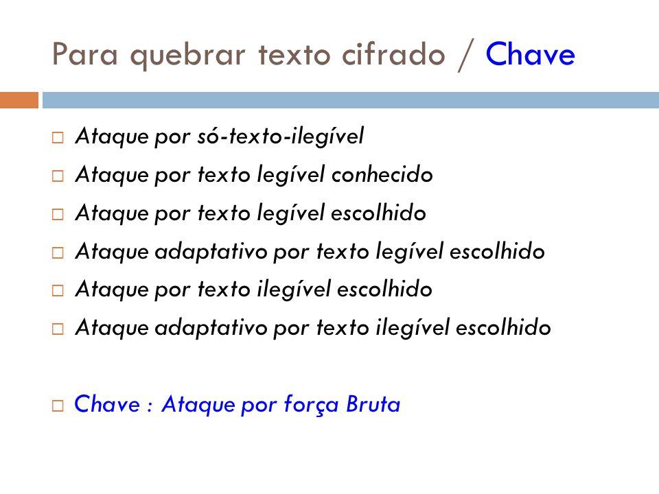 Para quebrar texto cifrado / Chave