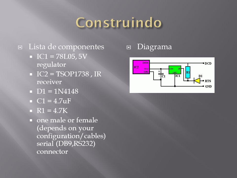 Construindo Lista de componentes Diagrama IC1 = 78L05, 5V regulator