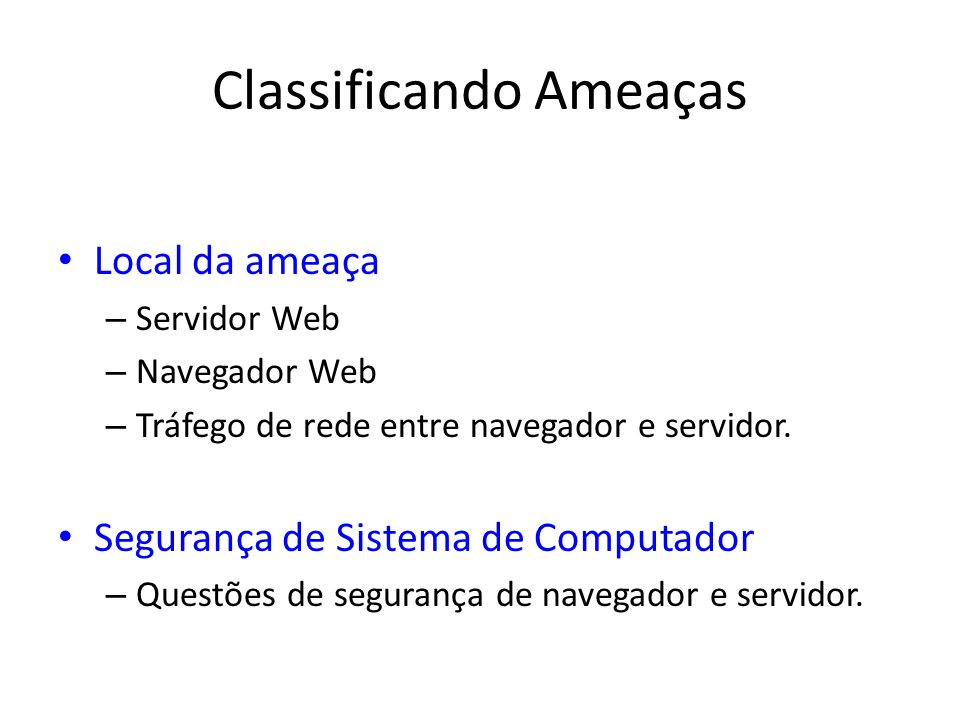 Classificando Ameaças