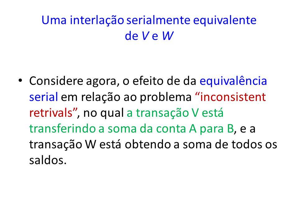 Uma interlação serialmente equivalente de V e W
