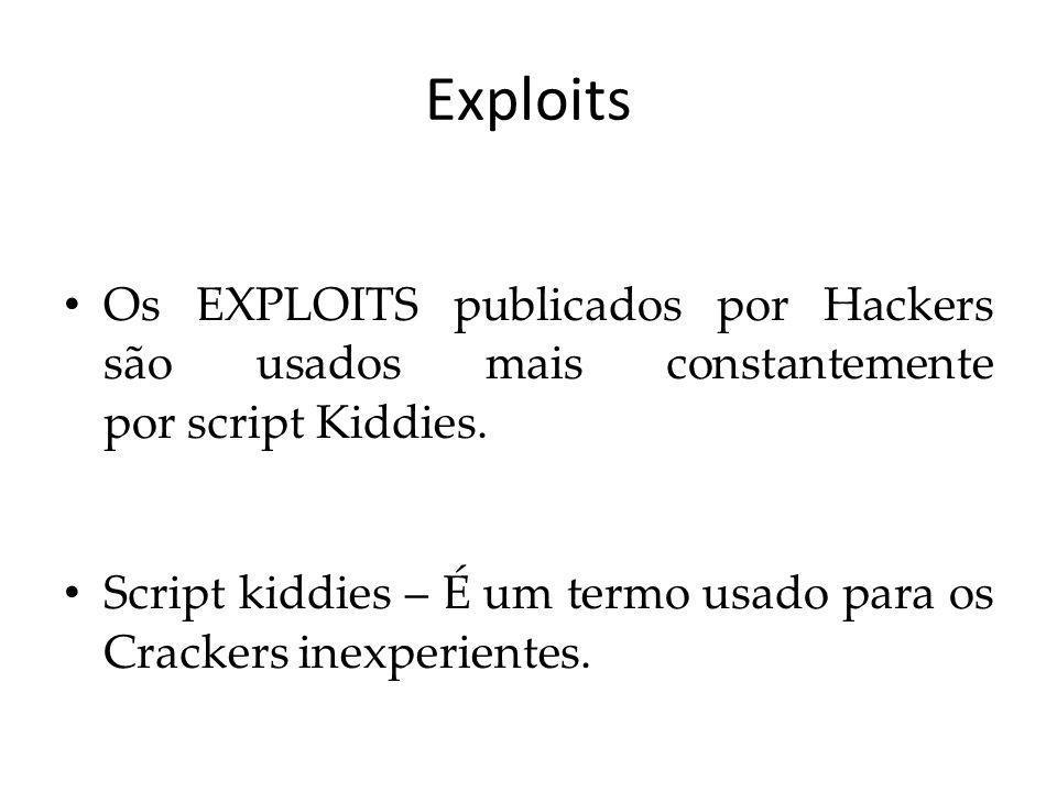 Exploits Os EXPLOITS publicados por Hackers são usados mais constantemente por script Kiddies.