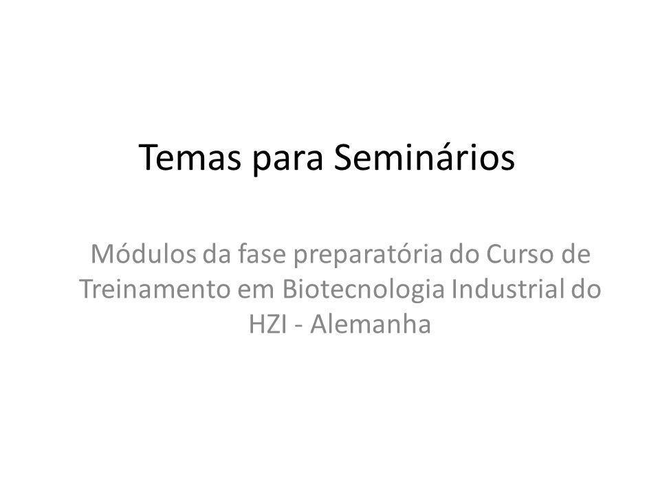 Temas para Seminários Módulos da fase preparatória do Curso de Treinamento em Biotecnologia Industrial do HZI - Alemanha.
