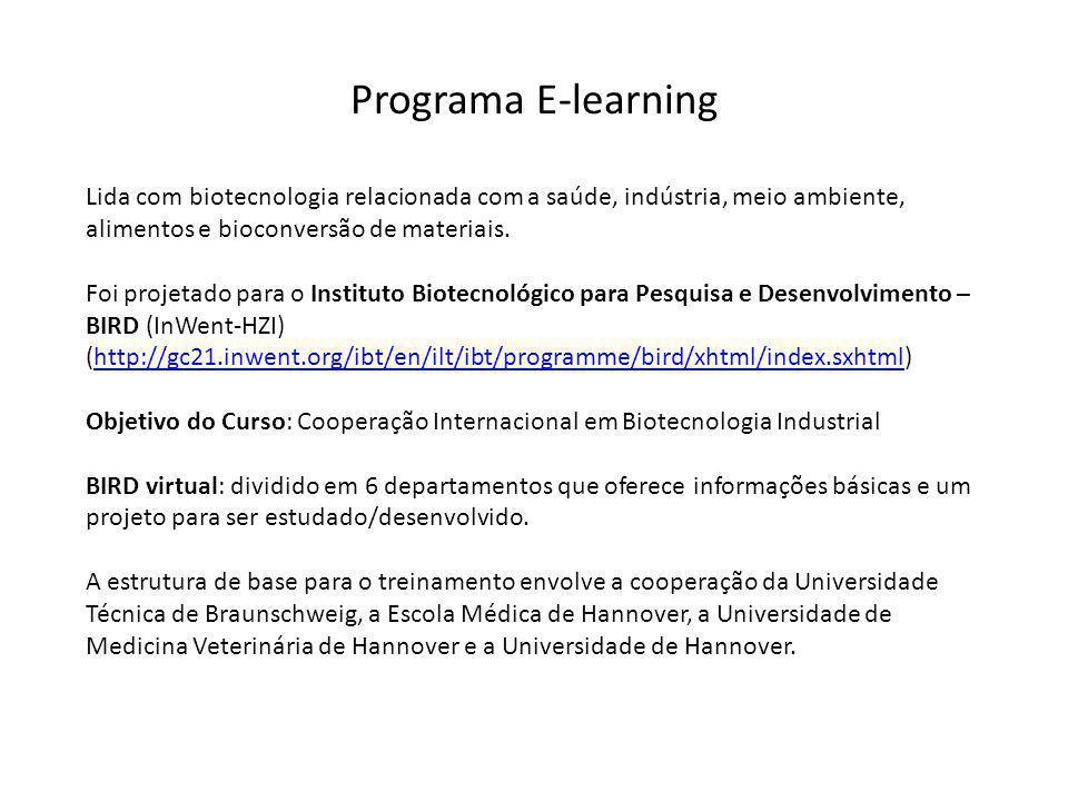 Programa E-learning Lida com biotecnologia relacionada com a saúde, indústria, meio ambiente, alimentos e bioconversão de materiais.