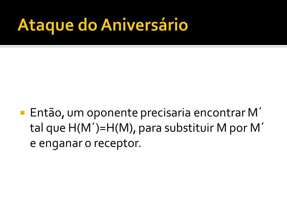 Ataque do Aniversário Então, um oponente precisaria encontrar M´ tal que H(M´)=H(M), para substituir M por M´ e enganar o receptor.