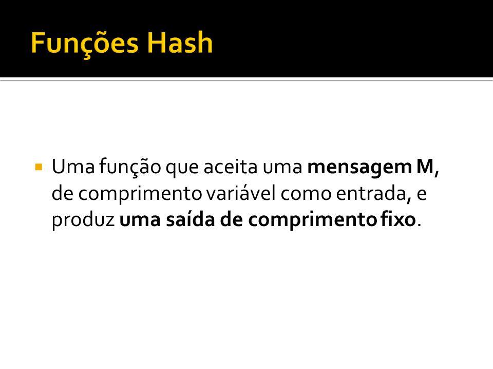 Funções Hash Uma função que aceita uma mensagem M, de comprimento variável como entrada, e produz uma saída de comprimento fixo.