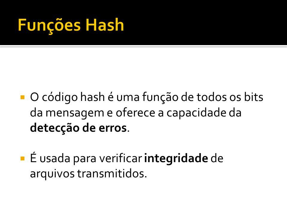 Funções Hash O código hash é uma função de todos os bits da mensagem e oferece a capacidade da detecção de erros.
