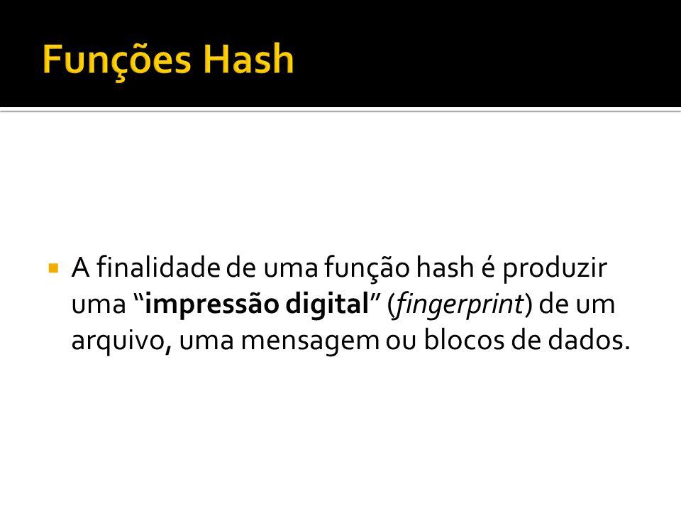 Funções Hash A finalidade de uma função hash é produzir uma impressão digital (fingerprint) de um arquivo, uma mensagem ou blocos de dados.