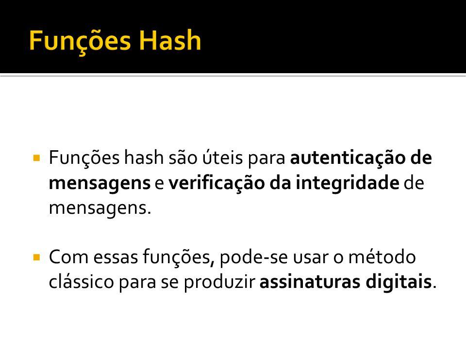 Funções Hash Funções hash são úteis para autenticação de mensagens e verificação da integridade de mensagens.