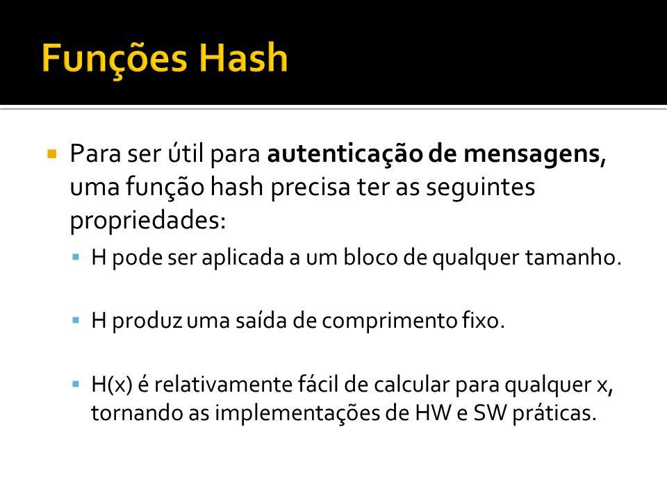 Funções Hash Para ser útil para autenticação de mensagens, uma função hash precisa ter as seguintes propriedades:
