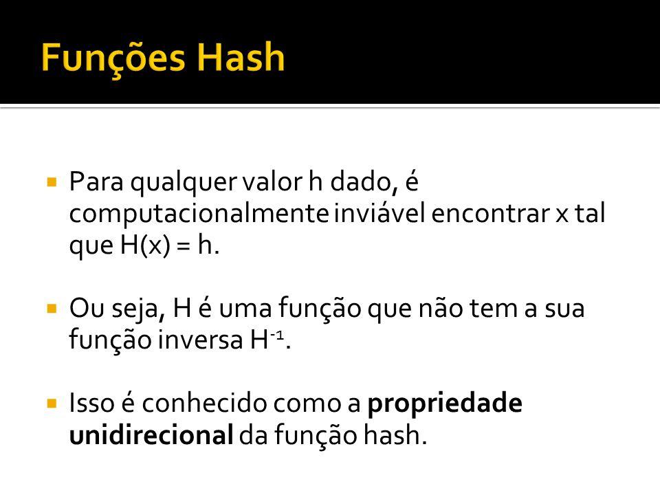 Funções Hash Para qualquer valor h dado, é computacionalmente inviável encontrar x tal que H(x) = h.
