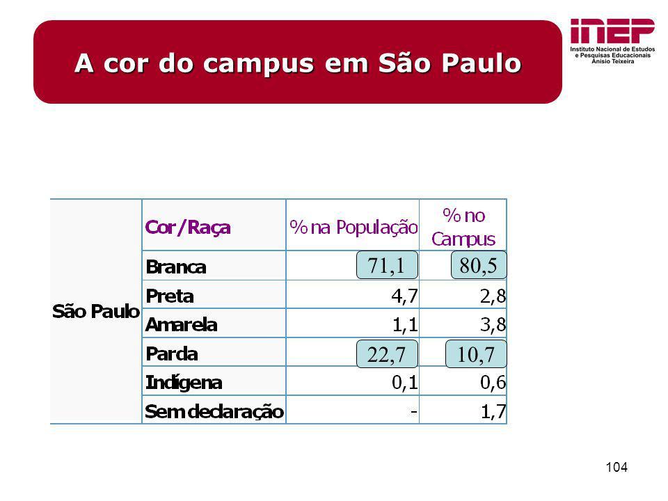 A cor do campus em São Paulo