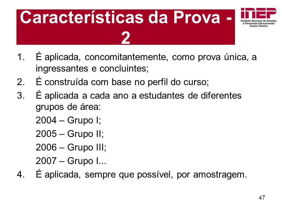 Características da Prova - 2