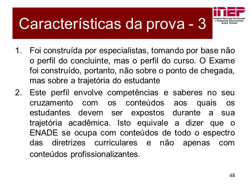 Características da prova - 3