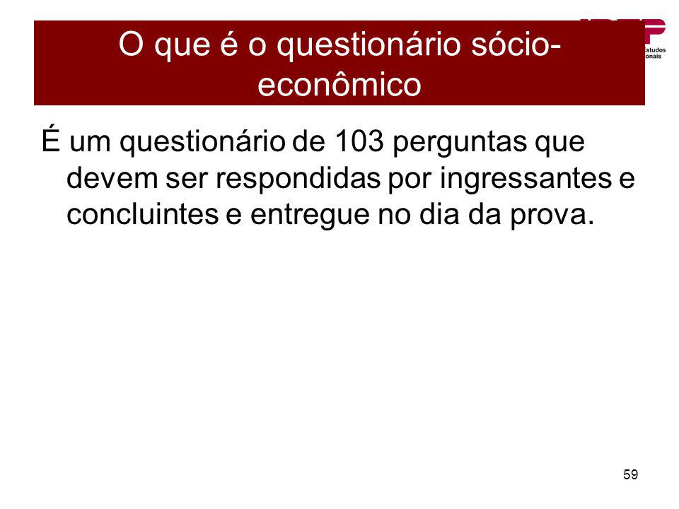 O que é o questionário sócio-econômico