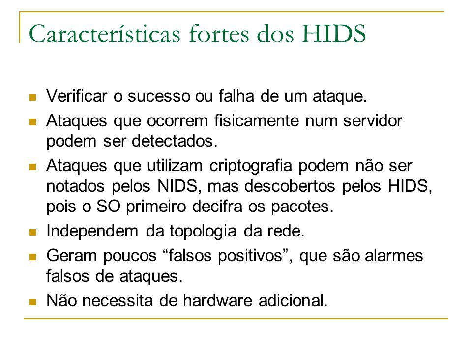Características fortes dos HIDS