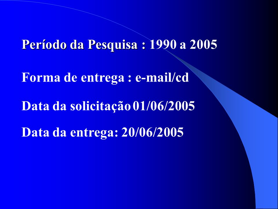 Período da Pesquisa : 1990 a 2005 Forma de entrega : e-mail/cd.