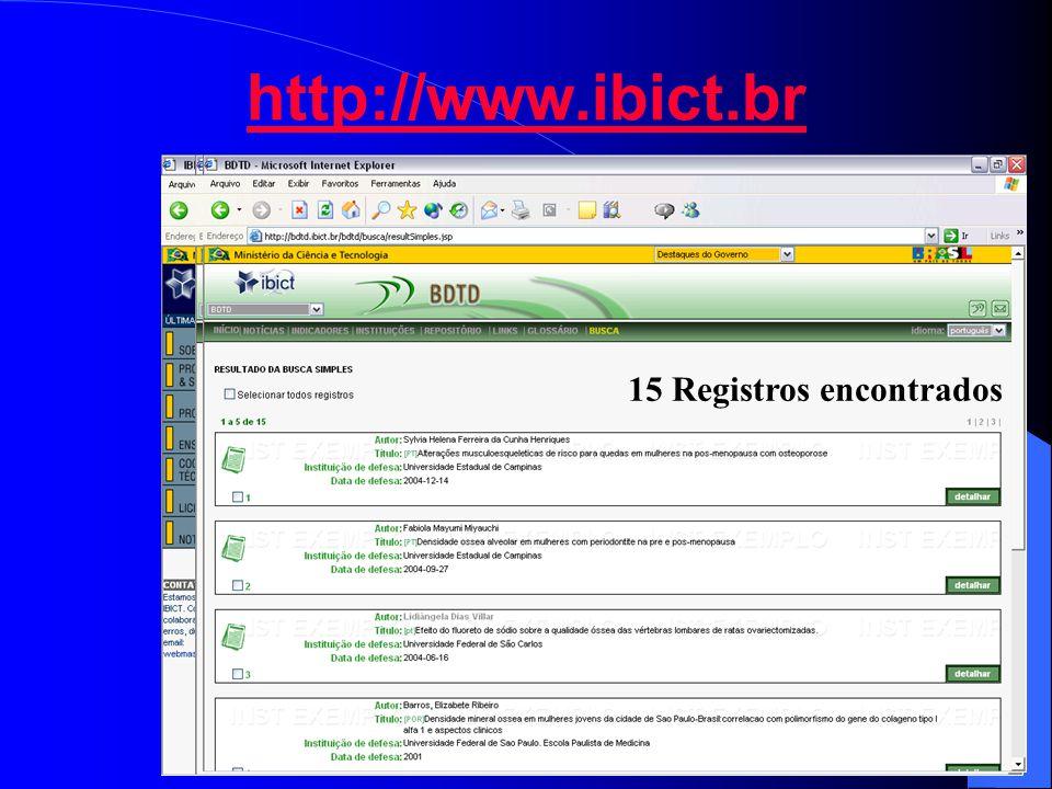 http://www.ibict.br 15 Registros encontrados